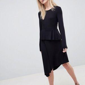 NWOT ASOS asymmetrical dress with peplum